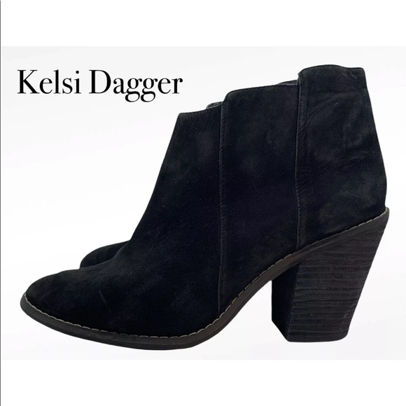 KELSI DAGGER BLACK SUEDE LEATHER ANKLE BOOTS  9.5